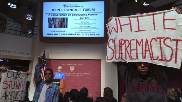 Protesters at Harvard greet DeVos speech on school choice