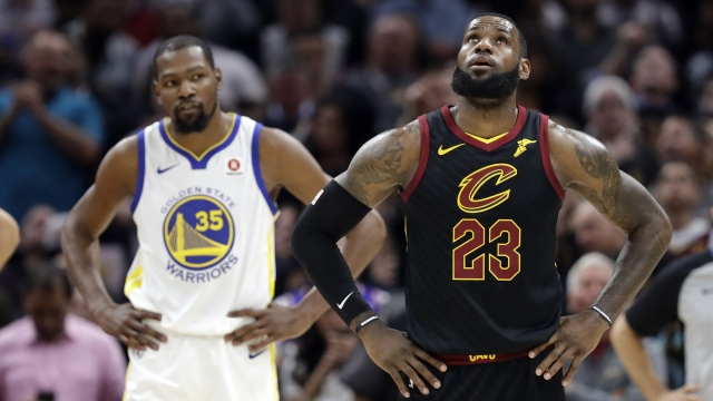 The Latest:  Cavs lead Game 3, Durant keeps Warriors close