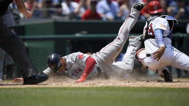 Bradley, Red Sox complete sweep, Nationals fall below .500
